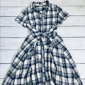 11•1•TYHLO Anthropologie plaid midi dress xs